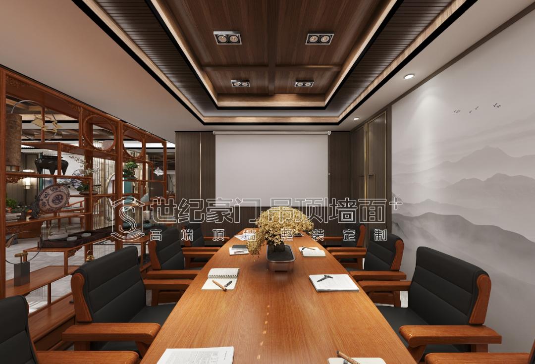 新中式风办公室集成墙面设计,在工作中追寻真我、修生养性!